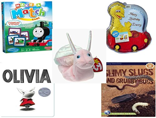 - Children's Gift Bundle - Ages 3-5 [5 Piece] - Thomas & Friends Make-A-Match Game - Sesame Street Big Bird Cake Pan - Ty Beanie Baby - Swirly the Snail - Olivia Board Book - Slimy Slugs And Grubby B