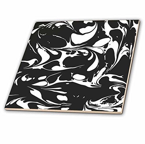 3dRose Andrea Haase Graphic Art - Black and White Marble Graphic - 4 Inch Ceramic Tile ()