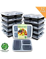 Enther Meal Prep Containers 12 Pack 3 Compartment With Lids Food Storage Bento