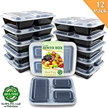 Enther Meal Prep Containers [12 Pack] 3 Compartment with Lids, Food Storage Bento Box | BPA Free...