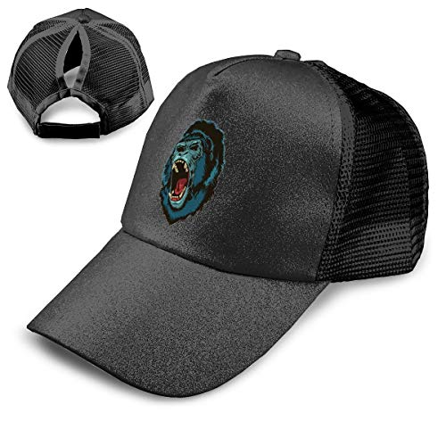 NewCap Angry Gorilla Ape Roar Fashionable Ponytail Baseball Cap Sequined Trucker Hat Adjustable Ponytail Holder -