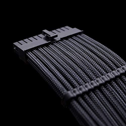 Antec PSU kabelverlängerung - Sleeved Cable foer die Stromversorgung mit extrahoeller 24 Pin 8PIN 6PIN 4 + 4 Pin 30cm, Schwarz
