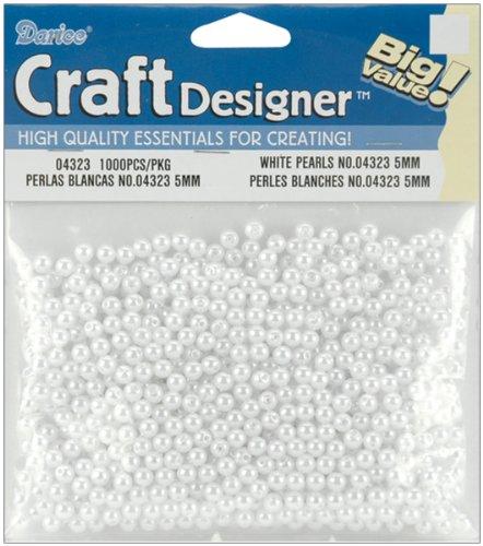 Darice 1000 Piece Round Pearl White