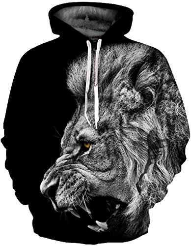 SAINDERMIRA Unisex Fashion 3D Digital Galaxy Pullover Hoodie Hooded Sweatshirt Athletic Casual with Pockets(Grey Lion, L/XL)
