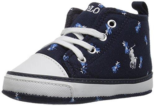 Polo Ralph Lauren Kids baby-boys Hamptyn Hi Crib Shoe, Navy Jersey Airplane Print, 4 M US Infant -