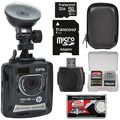 HP f310 1080p HD GPS G-Force Car Dashboard Video Recorder Camera with 32GB Card + Case + (Camcorder Lens Cleaning Kit)