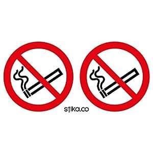 10 No Fumar Pegatinas (75mm Circular) on blanco autoadhesivo PVC vinilo