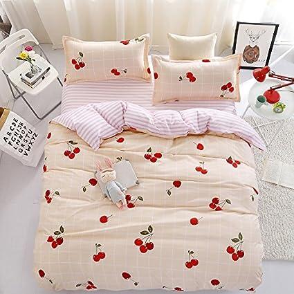 Superb Bed SET Children Bedding Duvet Cover Flat Bedsheet Pillowcase 4pcs No  Comforter JSD Queen Set Fruit