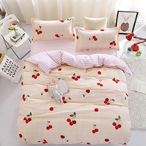 (Bed SET Children Bedding Duvet Cover Flat Bedsheet Pillowcase 4pcs No Comforter JSD Queen Set Fruit Strawberry Cherry Cupido Arrow Love Heart Designs for Sheets Set (Love Cherry, Pink, Queen, 78