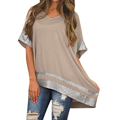 (Aniywn Women's Bat Sleeve Large Size Tops Casual Sequined Decorated V-Neck Blouse Baggy Leisure Tunic Pullover Khaki)