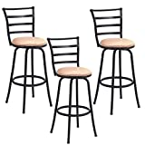 Costway Swivel Counter Height Bar Stool Steel Frame Modern Barstool Bistro Pub Chair (3Bar Stool)