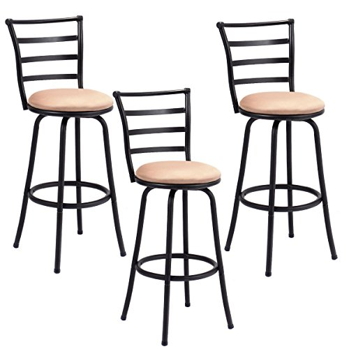 Costway Swivel Counter Height Bar Stool Steel Frame Modern Barstool Bistro Pub Chair (3Bar Stool) by Costway