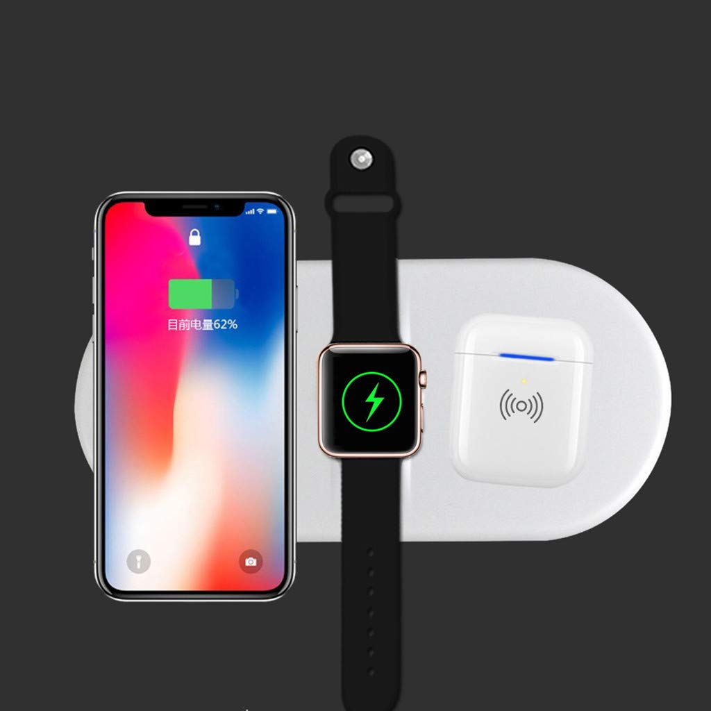 Wireless Charging Pad, 3 in 1 Airpower Wireless Charger Pad Qi Wireless Charger Holder for Apple Airpods 2th for Apple Watch for iPhone by Sunshinehomely (Image #5)