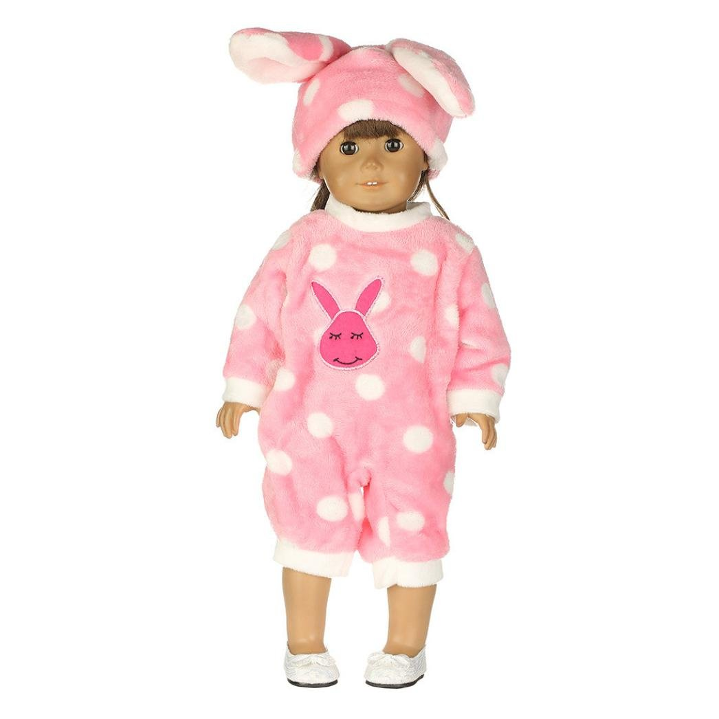 Xshuai Bunny Jumpsuit Cap Pajama Clothing For 18 Inch Our Generation American Girl Doll Clothing