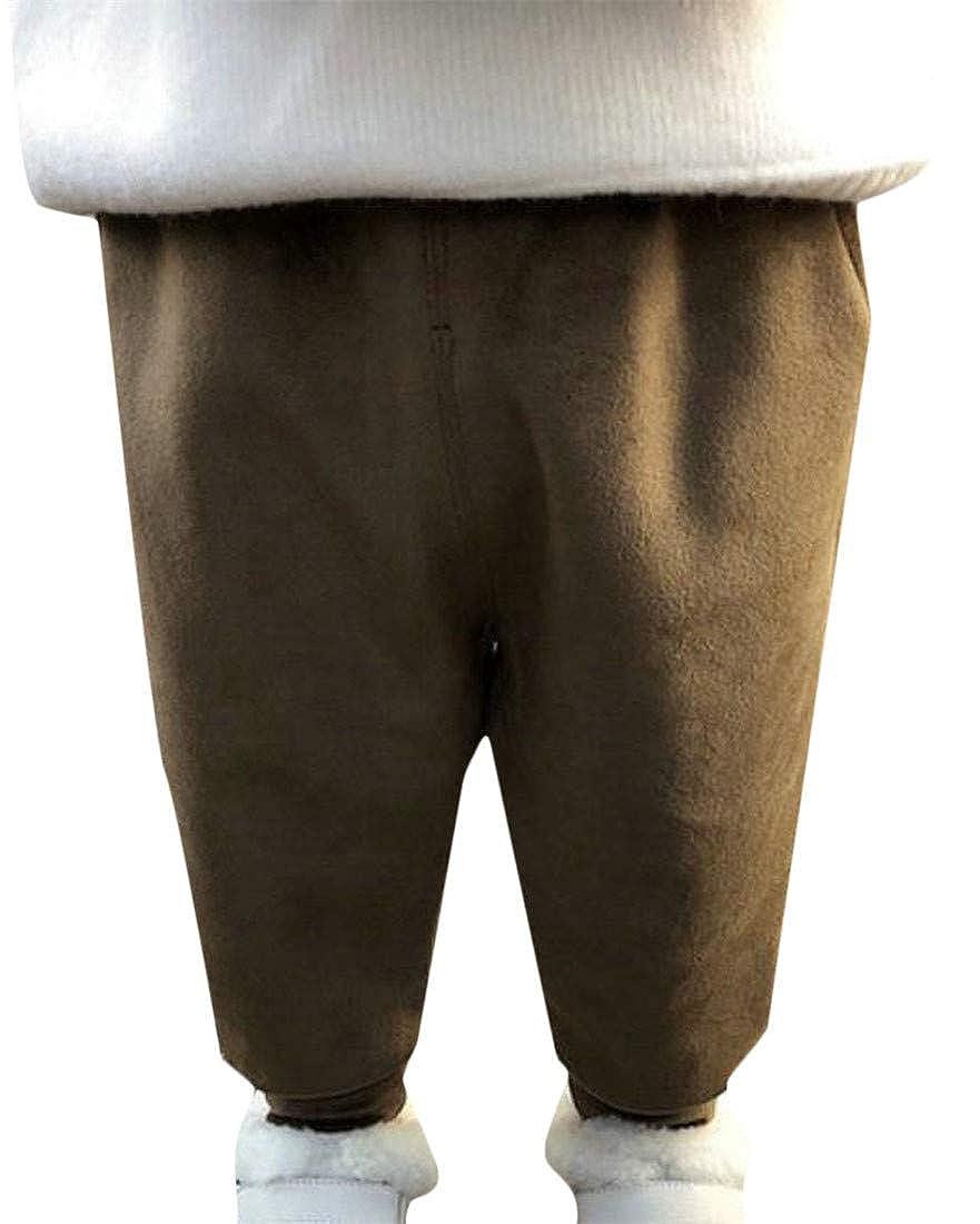 Agana Boy Girl Velour Fleece Elastic Waist Thicken Winter Jogger Pants
