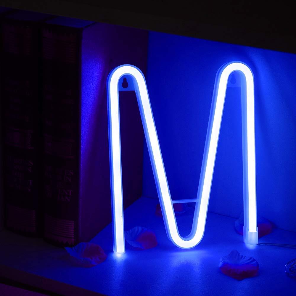 Bleu N/éon Lettre Signes Nuit Lumi/ère LED Marquee Lettres N/éon Art D/écoratif Lumi/ères Mur D/écor pour Enfants Chambre De B/éb/é De No/ël F/ête De Mariage D/écoration C