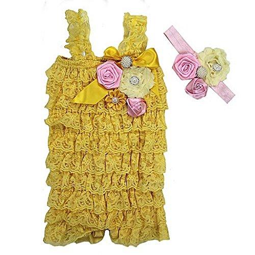 Baby Elegant Rosettes Pearl Lace Petti Romper Headband Set Small Yellow