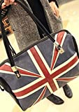 Samaz Women Girls European and American Organ of the British Navy Union Jack Shoulder Bag Tote Bag