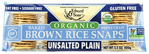 (Edward & Sons Edward & Sons Brown Rice Snaps, Unsalted Plain with Organic Brown Rice, 3.5 Ounce Packs (Pack of 12))