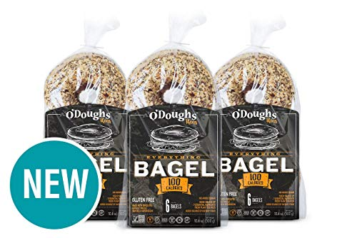 O'Dough Gluten Free Bagel Thins, Everything, 100 Calorie Bagels, 10.58 Ounce [3...