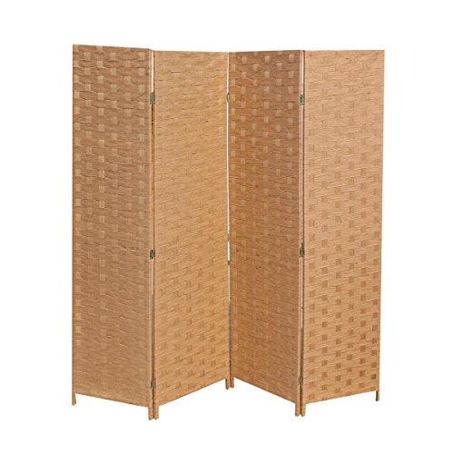 BestMassage Wood Mesh Woven Design 4 Panel Folding Wooden Screen Room Divider
