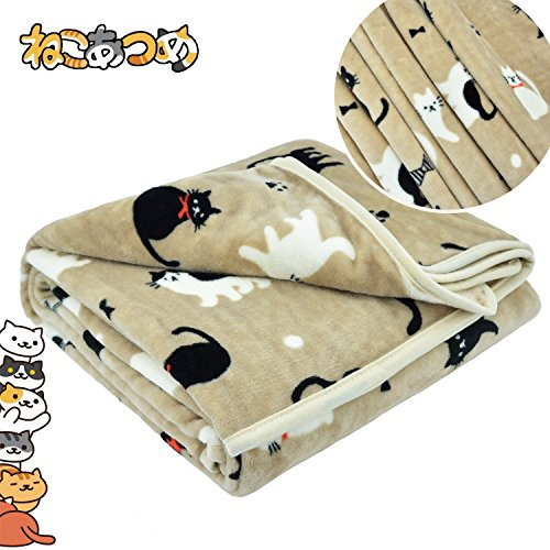 Cat Print Soft Throw Blanket, Black & White Cats Pattern 59