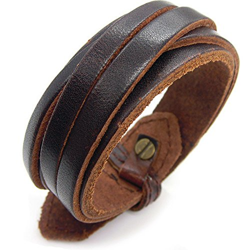 Womens Leather Wrap Bracelet (Rivet MultiLayer Wristband cuff Surfer Unisex wrap Hand-made Double-strand Brown Leather)
