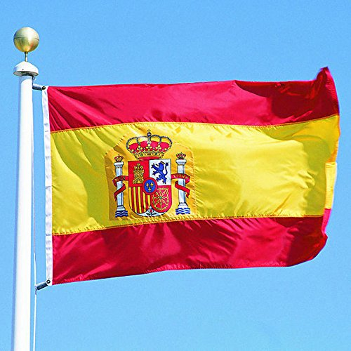 G128 - Spain Flag 3x5ft Printed Quality Polyester with Brass