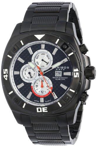 Akribos XXIV Men's AK652BK Grandiose Swiss Multifunction Black Stainless Steel Watch with Link Bracelet