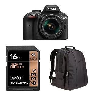 Nikon D3400 w/ AF-P DX NIKKOR 18-55mm f/3.5-5.6G VR (Black) + 16GB Memory Card and AmazonBasics Bag