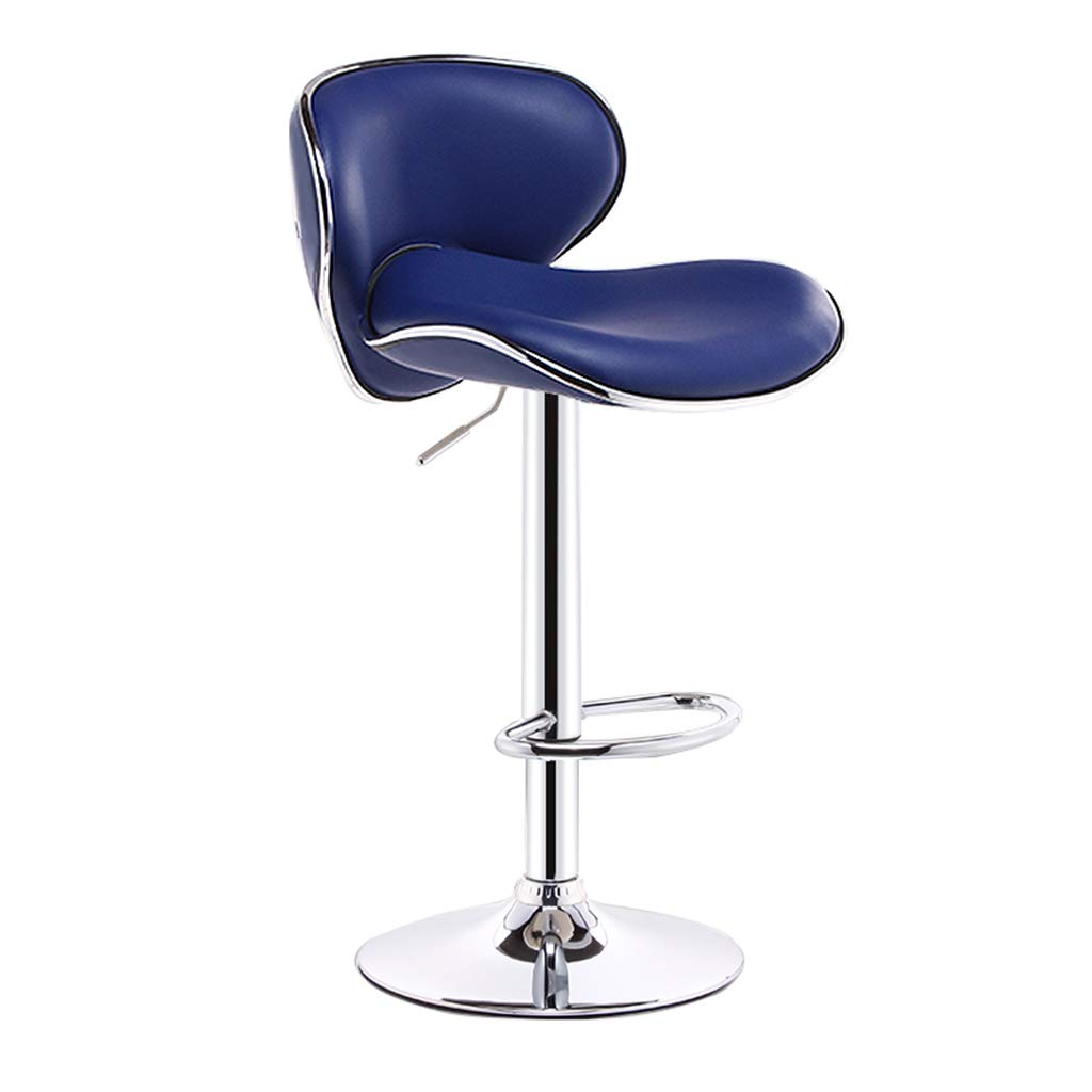 bluee Modern Imitation Leather Bar Stool Metal Swivel Chair Bar Stool Kitchen Stool Breakfast Bar Chair Backrest Adjustable 60-80CM (color   Black)