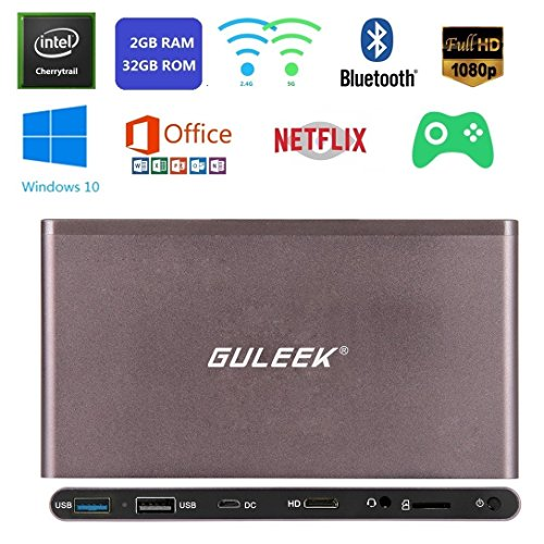 Brinonac GPC Windows Win 10 Mini Desktop PC 32bit Intel Z8300 Cherry Trail Quad-core Wintel Pocket Computer 2.4G/5G Dual Band Wifi 4K HD Bluetooth 4.0 USB 3.0 HDMI 2GB RAM 32GB Storage