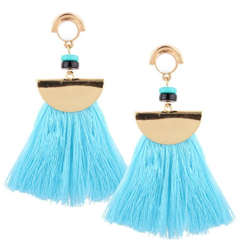 Bohemian Handmade Silk Tassel Dangling Earrings Women's Girls' Elegant Jewellery Ethnic Resin Pircing Eardrop(Cyan)