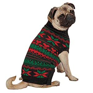 Zack & Zoey UM3768 08 17 Classic Holiday Sweater for Dogs, XX-Small Black
