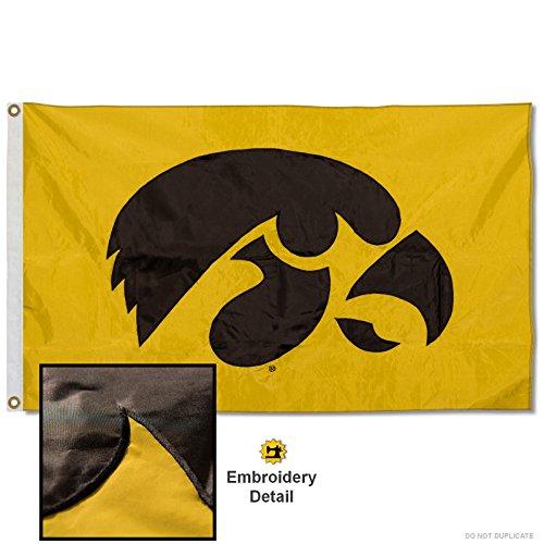 Iowa Hawkeyes Embroidered and Stitched Nylon Flag (Iowa Flag Hawkeyes 3x5)