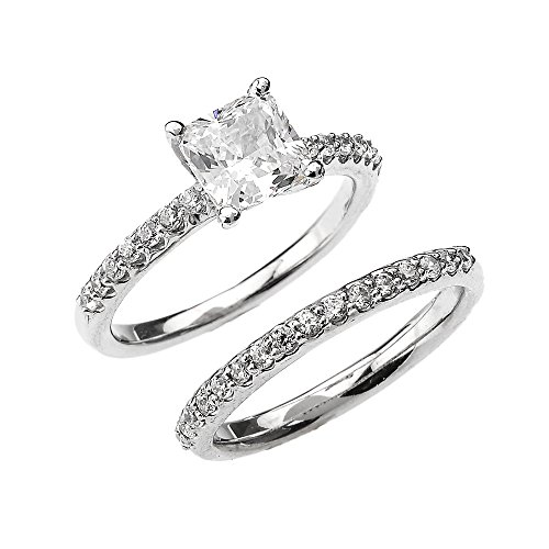 10k White Gold 2.5 Carat Total Weight Princess CZ Classic Engagement Wedding Ring Set (Size 4) by CZ Engagement Rings