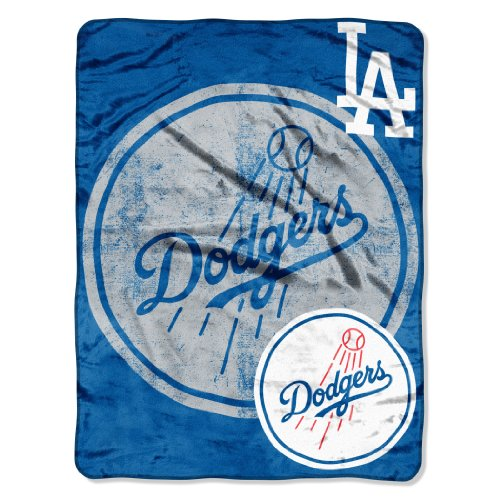 "Officially Licensed MLB Los Angeles Dodgers Triple Play Micro Raschel Throw Blanket, 46"" x 60"""