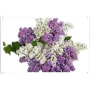 Flower Tin Sign Lilacs Bouquet White Purple Vase 30068 by Waller's Decor (7.8″x11.8″)