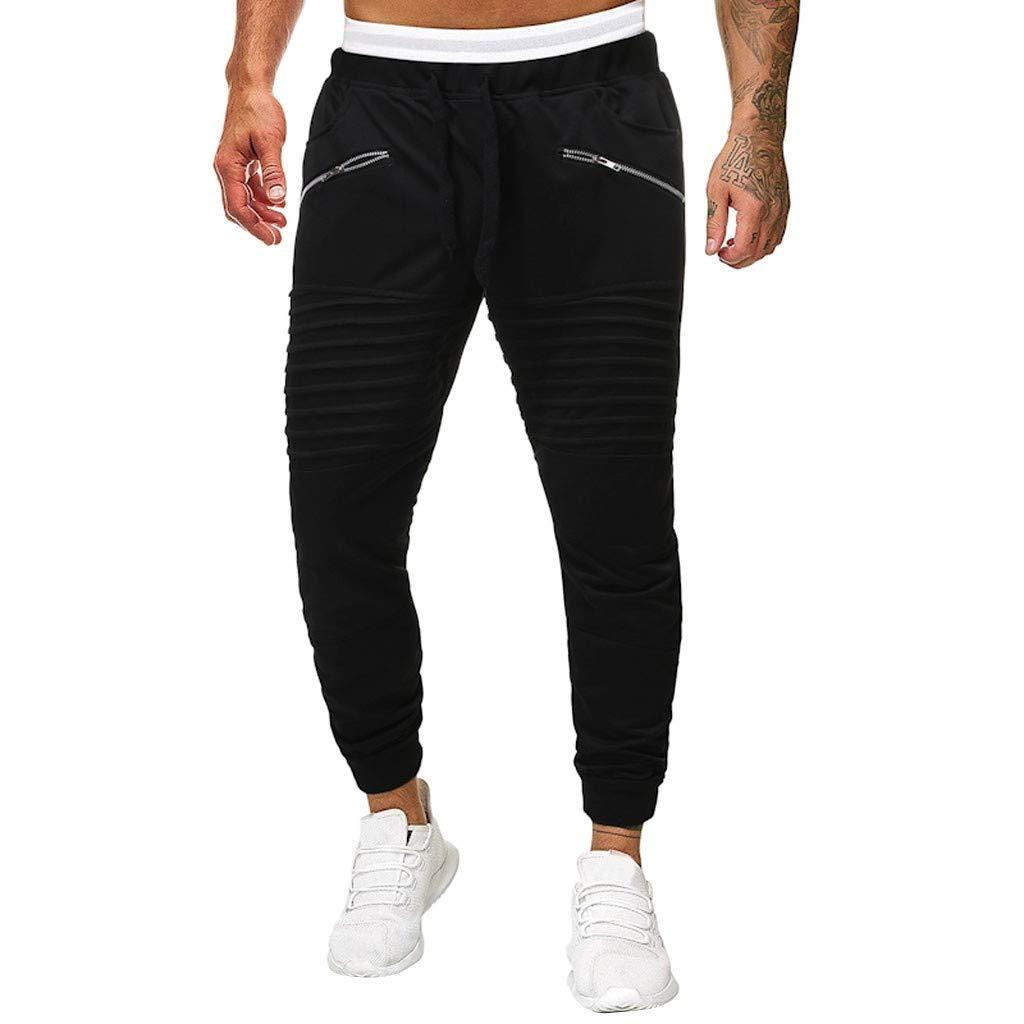 Subfamily Pantalones Deportivos con Costuras Plisadas para Hombres Empalme Plegado Monos de Sriped Casual Pocket Sport Work Pantalones de Pantal/ón Casual
