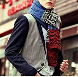 METERDE Womens Mens Korea Knit Twist Cable Winter Scarf for Couples Blue/Red