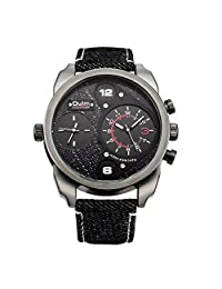OULM Men Quartz Leather Stripe Watch Double Time Zone Movement Travel watches