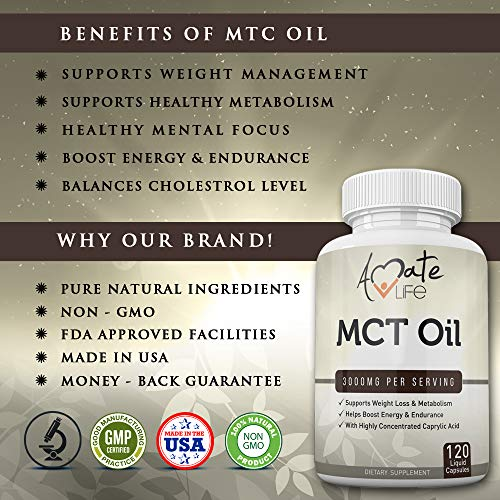 MCT Capsules 3000 mg Metabolism Ketone - Energy Boosting Pill Healthy Focus Supplement Men & Women- Made USA - 120