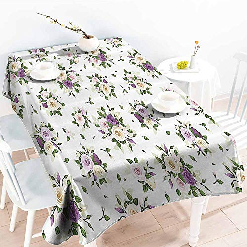 Rosebud Charms 2 - Homrkey Easy Care Tablecloth Roses Decorations Collection Roses Rosebuds and Lisianthus Flower Symbol of Love Baroque Style Purple Yellow Green Excellent Durability W70 xL84