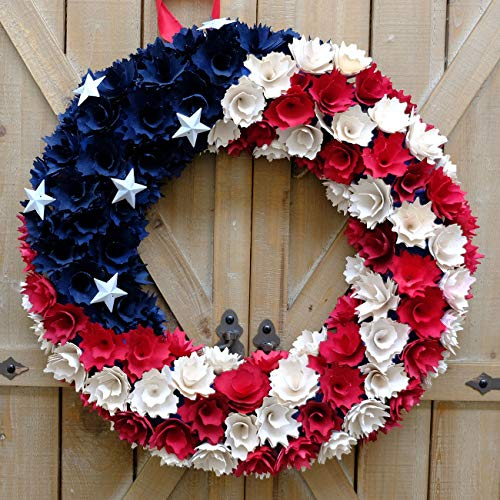 (idyllic Patriotic Wreath Red, White and Blue Boxwood for National Days Americana Front Door Party Accessory 4th of July Decoration)
