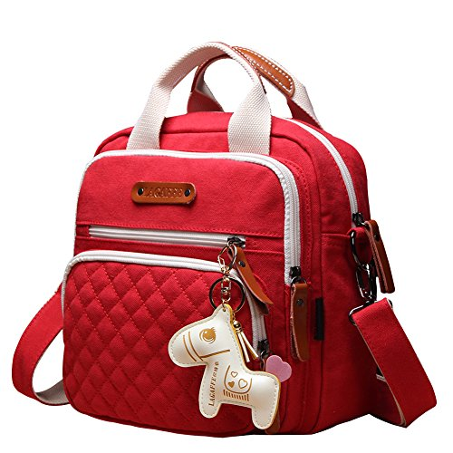 Quality Canvas Designer Organizer Mini Fashion Multi-Function Baby Nappy Changing Diaper Bag Tote Messenger Backpack-Red