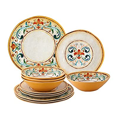 "Melamine Tuscany Dinnerware Set of 12 - Size: Dinner Plate-11"" D x 1"" H, Salad Plate-9"" D x 1"" H, Bowl-8"" D x 2 1/4"" H Material: 100% Melamine Care & Clean: Top Rack Dishwasher Safe. Do not use in microwave. - kitchen-tabletop, kitchen-dining-room, dinnerware-sets - 516ZDBy6PtL. SS400  -"