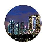 iPrint Polyester Round Tablecloth,Travel Decor,Singapore Cityscape at Night Modern Architecture Urban Life Asian Landmark,Multicolor,Dining Room Kitchen Picnic Table Cloth Cover,for Outdoor Indoor