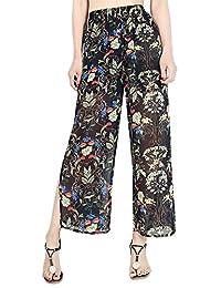 FEOYA Womens Casual Wide Leg Pants Lightweight Palazzo Elastic Waist Printing Pants