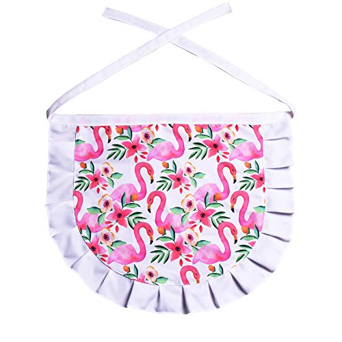 (Love Potato Cute Flamingo Pattern Stylist Waist Apron Server Apron Coffee Maker Nail Cream Tea Restaurant Half Aprons for Women Girls, 21.6 X 17.7 Inches, Pink)