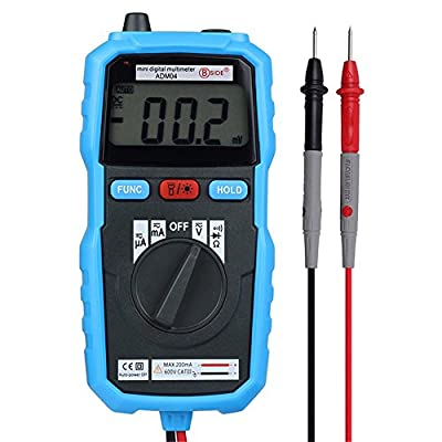 Seesii Digital Multimeter DC AC Voltage Current Tester Non-contact Handheld Mini LCD Backlight Ammeter Multimeter with Test Lead-ADM04